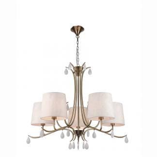 Lámpara de techo andrea cuero satinado Mantra cinco luces