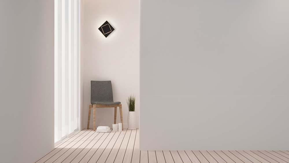Aplique de pared negro cuadrado dakla Mantra 18cm decoración