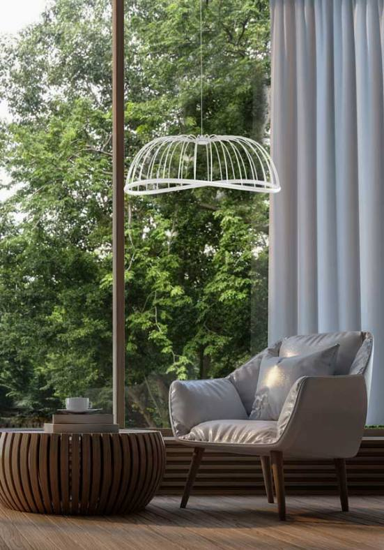 Lámpara de techo celeste Mantra blanca grande decoración