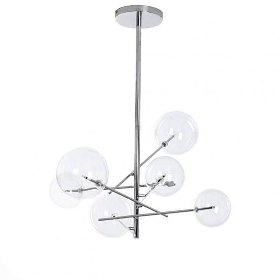Lámpara de techo art deco con bolas de cristal y base en color plata cromado