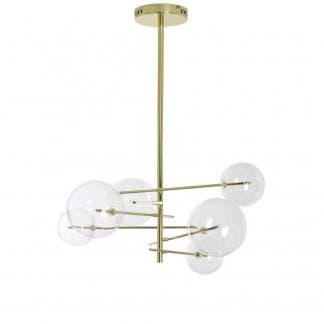 Lámpara de techo art deco dorada con bolas de cristal