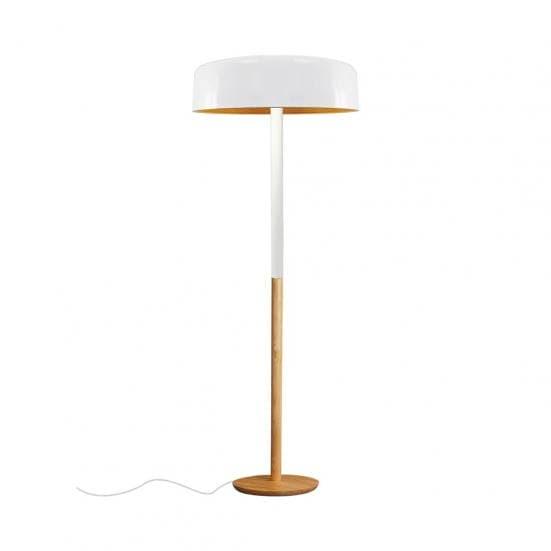 lámpara de pie blanca y madera natural ARECA