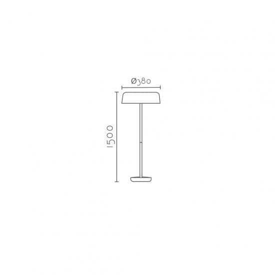 lámpara de pie blanca y madera natural ARECA medidas