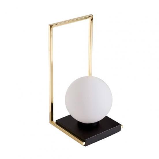 Lámpara de mesa dorada con bola blanca 9973