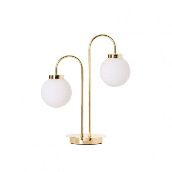 Lámpara de mesa dorada dos bolas blancas