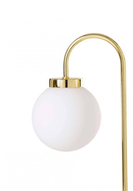 Lámpara de mesa dorada dos bolas blancas 4