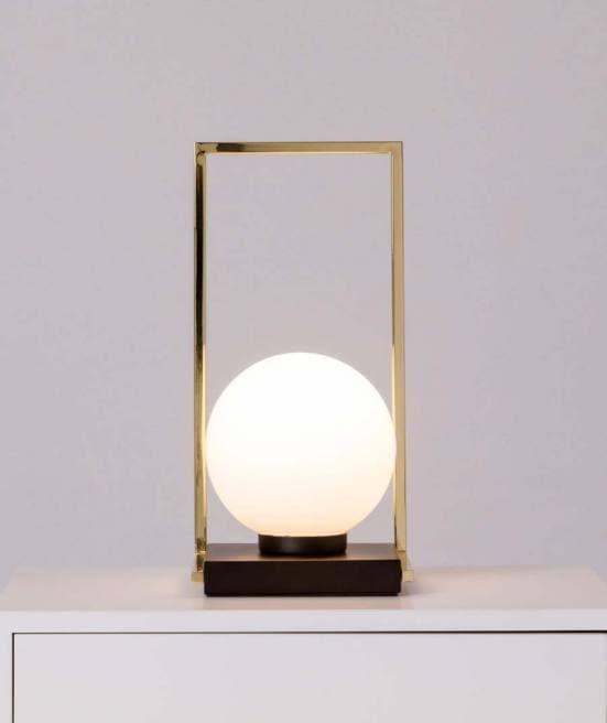 Lámpara de mesa dorada con bola blanca 9973 4