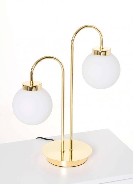 Lámpara de mesa dorada dos bolas blancas 2