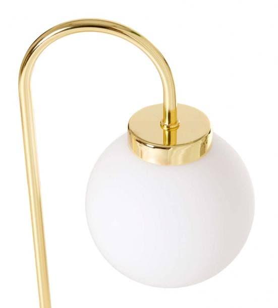 Lámpara de mesa dorada dos bolas blancas 6