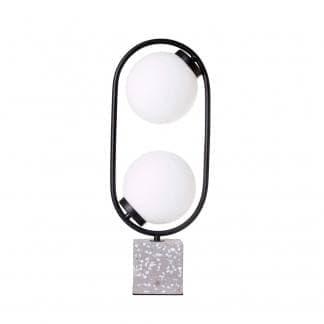 Lámpara de mesa negra dos bolas blancas