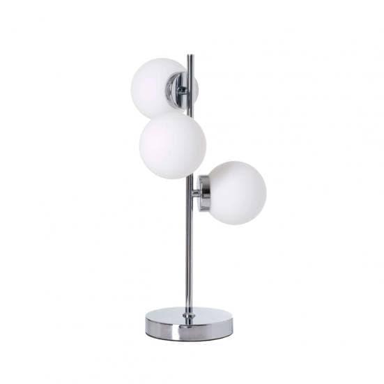 Lámpara de mesa plateada con bolas blancas