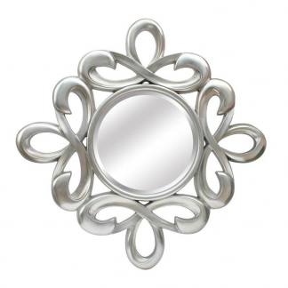 Espejo resina plata redondo