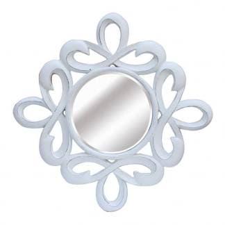 Espejo resina blanco envejecido redondo