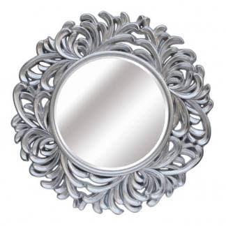 Espejo resina plateado redondo formas entrelazadas