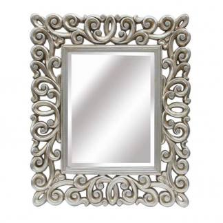 Espejo resina plata champagne rectangular