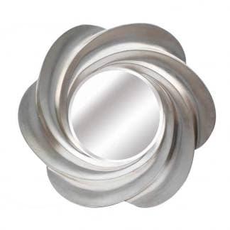 Espejo resina lacado plata redondo