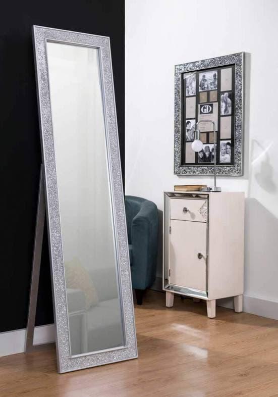 Espejo de pie plata mosaico decoración