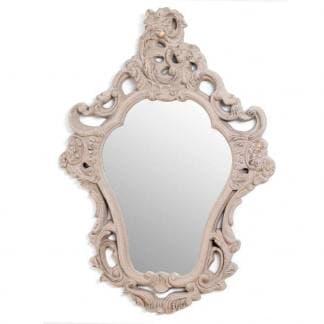 Espejo provenzal color crema envejecido