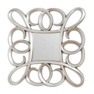Espejo resina plateado con formas