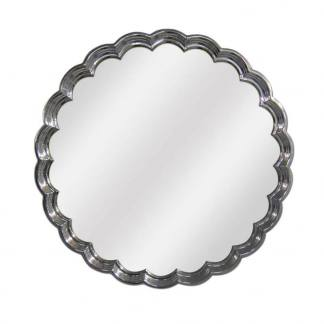 Espejo de resina redondo plata brillo