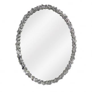 Espejo redondo plata brillo resina