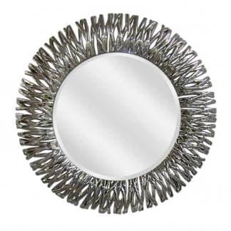 Espejo decorativo redondo plata brillo