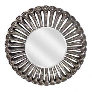 Espejo decorativo redondo níquel brillo