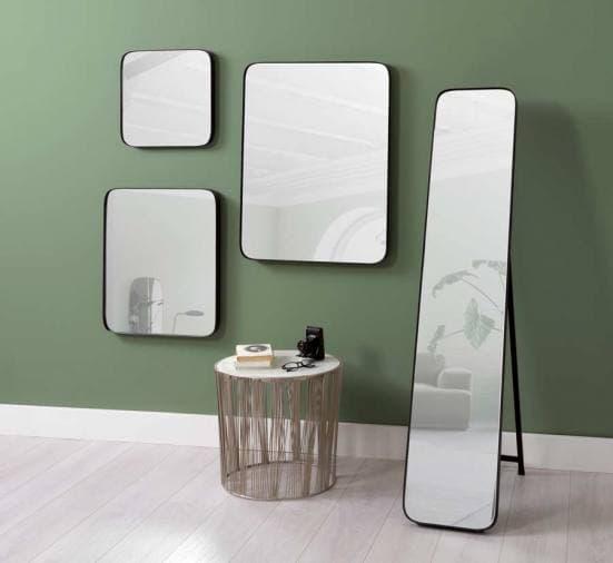 Espejo de esquinas redondas negro decoración