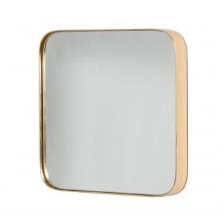 Espejo de esquinas redondas dorado
