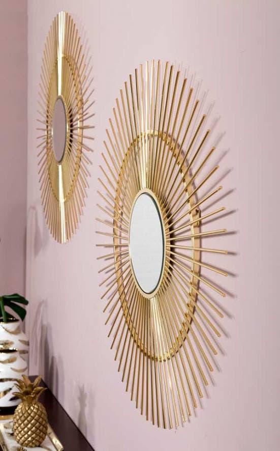 Espejo de metal dorado art deco decoración