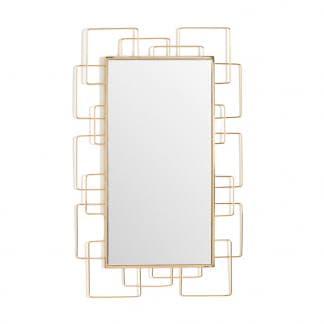 Espejo de metal dorado rectangular art deco