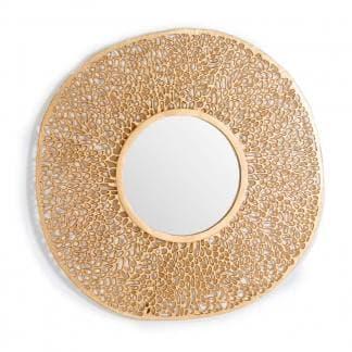 Espejo metálico redondo dorado art deco