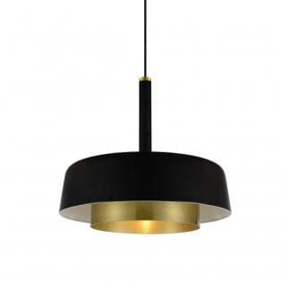 Lámpara de metal negro y dorado