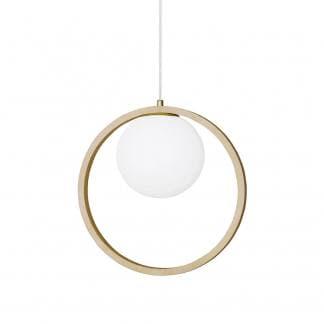 Lámpara colgante de madera con esfera de cristal
