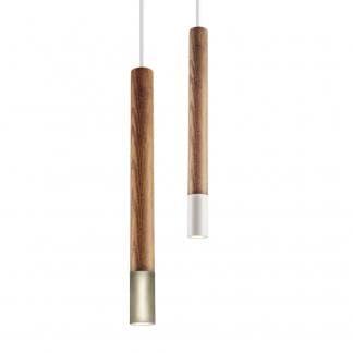 Lámpara colgante fina madera y aluminio dorado blanco