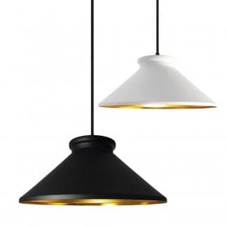 Lámpara colgante metálica negra blanca