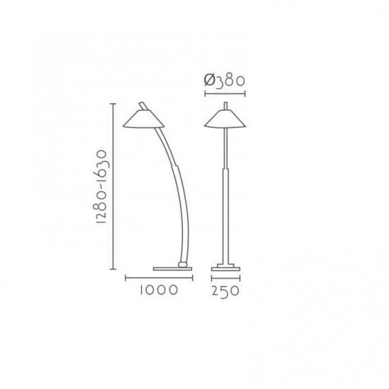 Lámpara de pie madera curvada QUERCUS medidas