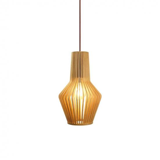 Lámpara de techo madera natural MINA encendida